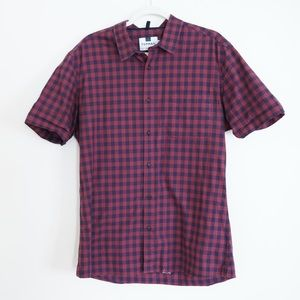 TOPMAN SHORT SLEEVE CHECKERED BUTTON DOWN SHIRT